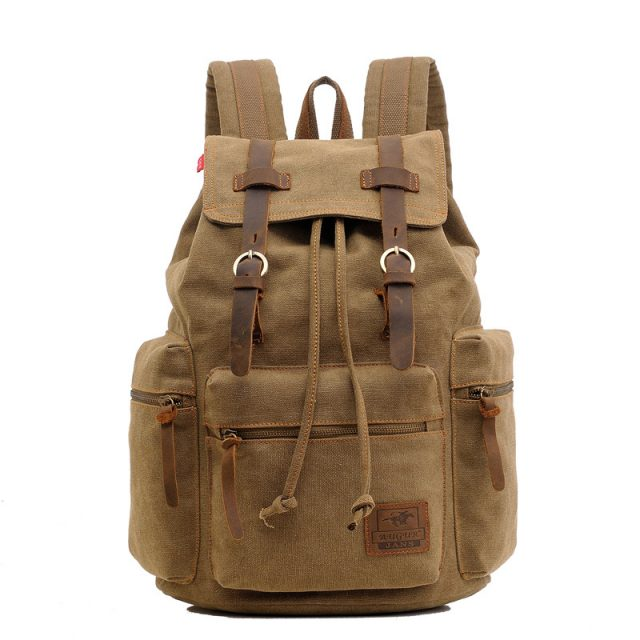 Men's Canvas Travel Drawstring Backpack